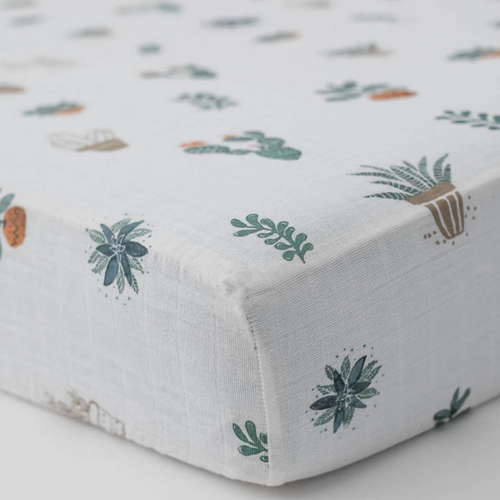 Muslin Fitted Crib Sheet, Prickle Pots