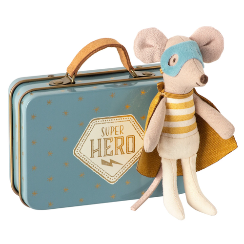 Little Superhero Mouse in Suitcase