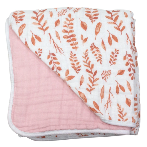 Muslin Quilt, Pink Leaves/Cotton Candy