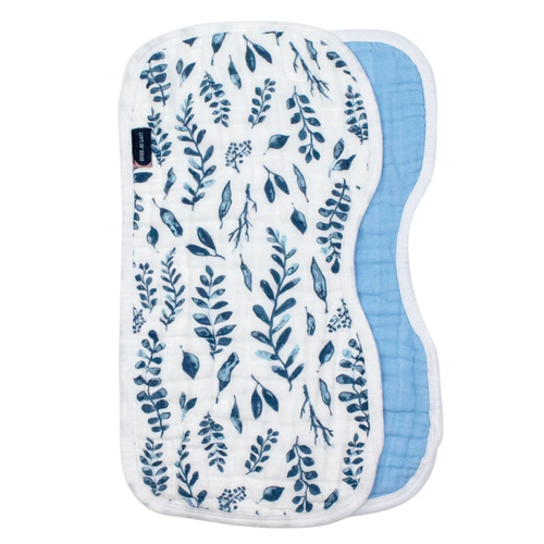 Burp Cloths, Blue Leaves/Cornflower