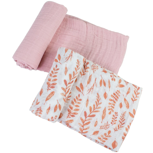Muslin Swaddle Set, Pink Leaves/Cotton Candy