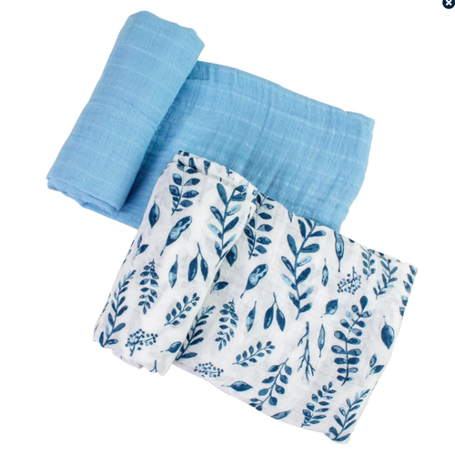 Muslin Swaddle Set, Blue Leaves/Cornflower