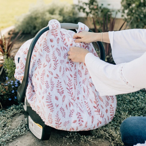 Muslin Car Seat Cover, Pink Leaves