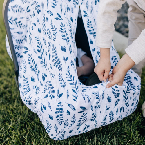Muslin Car Seat Cover, Blue Leaves