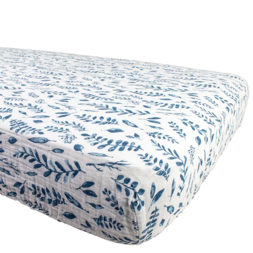 Muslin Crib Sheet, Blue Leaves