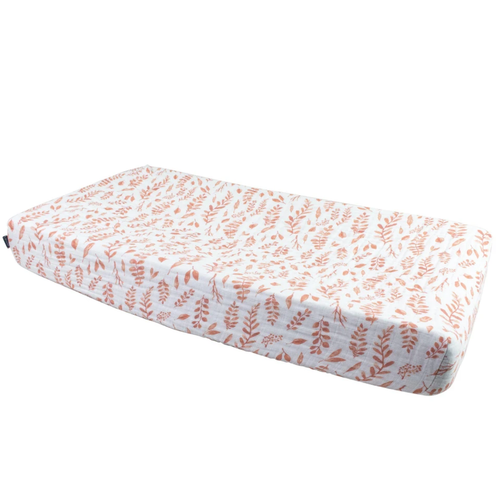 Muslin Changing Pad Cover, Pink Leaves
