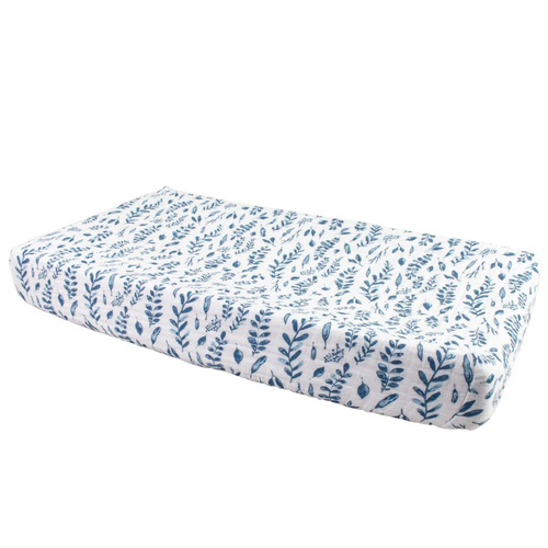 Muslin Changing Pad Cover, Blue Leaves