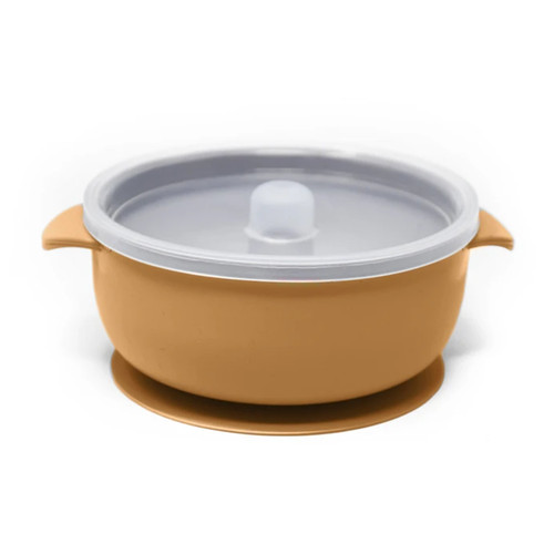 Silicone Suction Bowl with Lid, Mustard