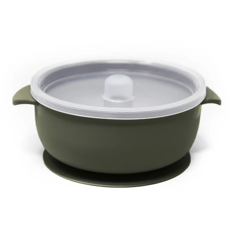 Silicone Suction Bowl with Lid, Forest