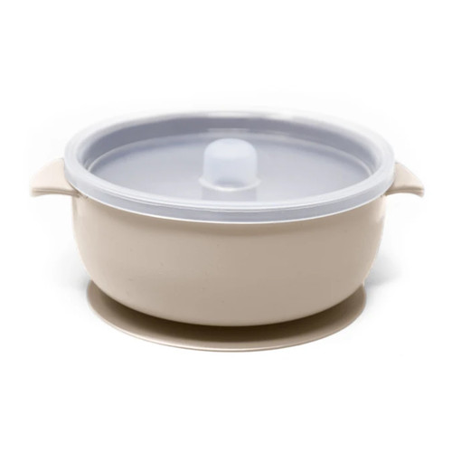 Silicone Suction Bowl with Lid, Ivory