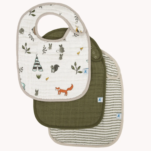Muslin 3-Pack Bib Set, Forest Friends