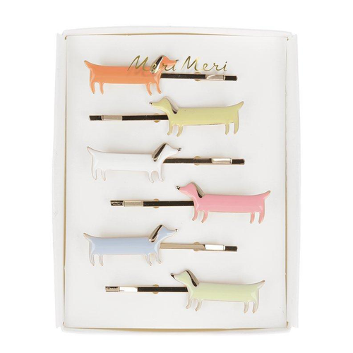 Enamel Hair Slides, Sausage Dogs