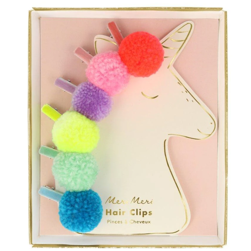 Pompom Unicorn Hair Clips