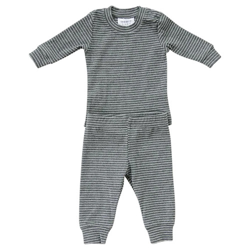 Ribbed Two Piece Set, Grey & White Stripe