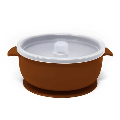 Silicone Suction Bowl with Lid, Ginger