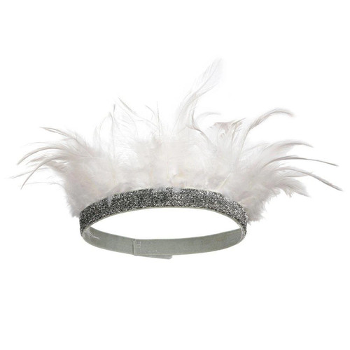 Feather Party Crown, White