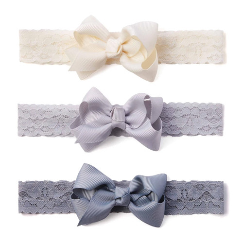 3-Pack Lace Headbands, Greys