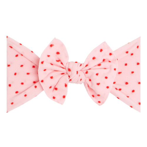 Valentine Shabby Knot Bow, Pink/Red Dots