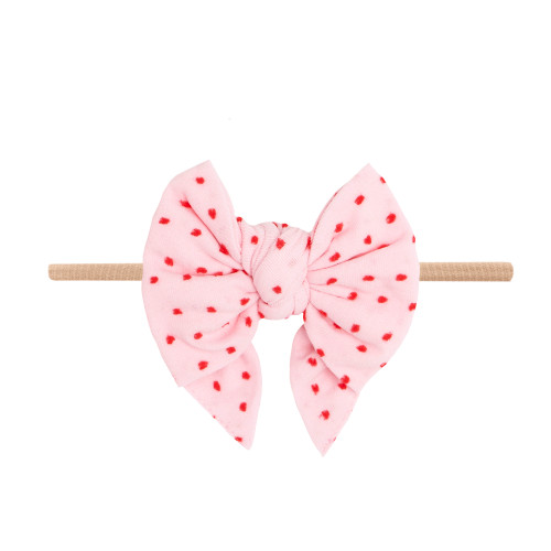 Valentine Enormous Skinny Bow, Shabby Pink/Red Dots