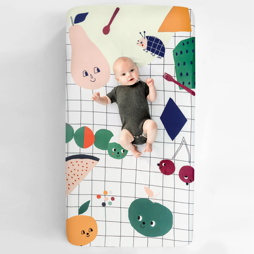 Cotton Crib Sheet, Picnic in the Park