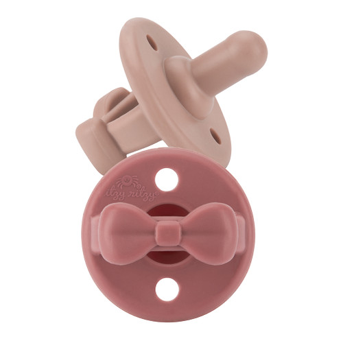 Pacifier 2-Pack, Clay/Rosewood Bow