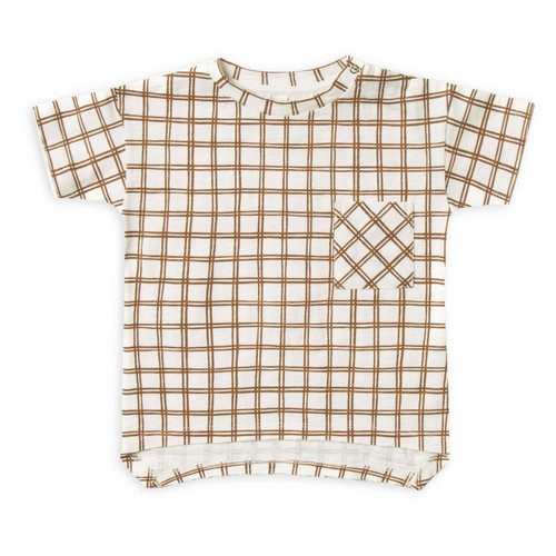Rylee & Cru Raw Edge Tee, Bronze Grid