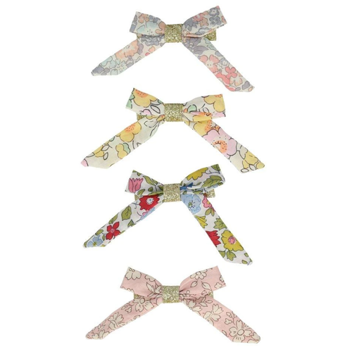 Floral Bow Hair Clips