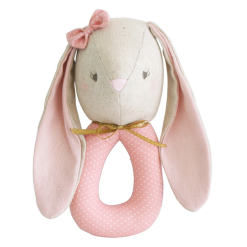 Baby Pearl Bunny Grab Rattle, Blush