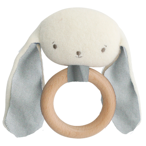 Baby Bunny Teether Rattle, Grey