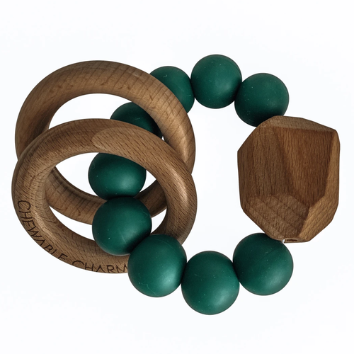 Hayes Silicone + Wood Teether, Peacock