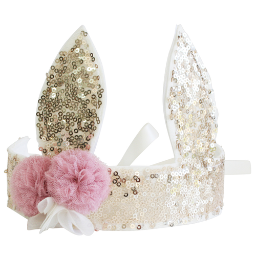 Sequin Bunny Crown, Gold