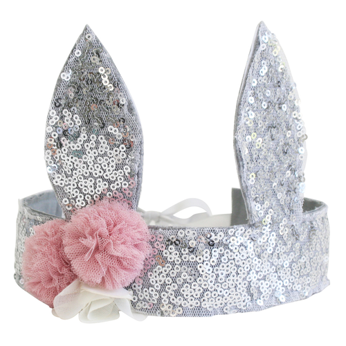 Sequin Bunny Crown, Silver