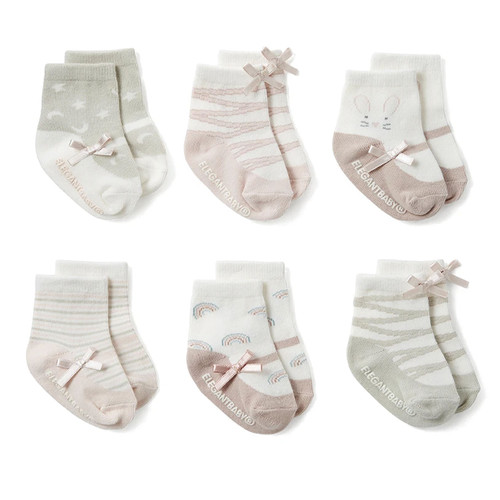 Socks 6-Pack, Pink Mary Jane