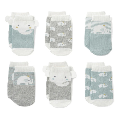 Socks 6-Pack, Sage Elephant