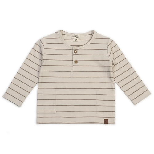 Organic Long Sleeve Top, Caramel Stripe