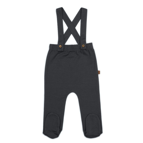 Organic Footed Suspender Pants, Storm
