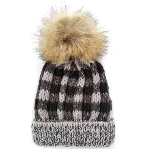 Buffalo Check Pom Hat, Grey