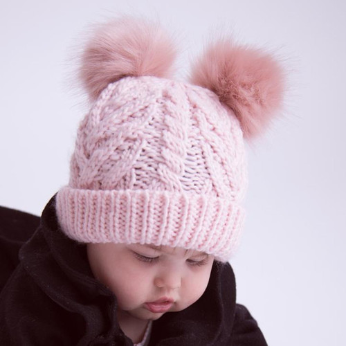 Cable Knit Double Pom Hat, Blush Pink