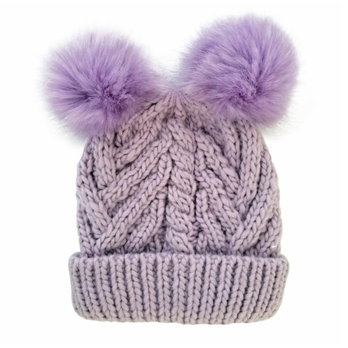 Cable Knit Double Pom Hat, Lilac