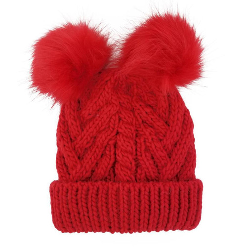 Cable Knit Double Pom Hat, Red