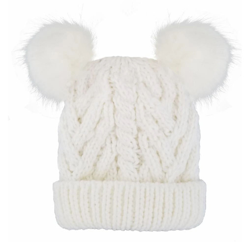 Cable Knit Double Pom Hat, White