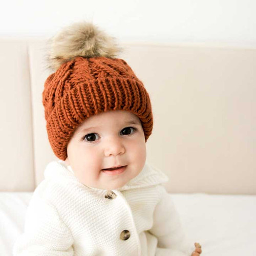Cable Knit Pom Hat, Chili