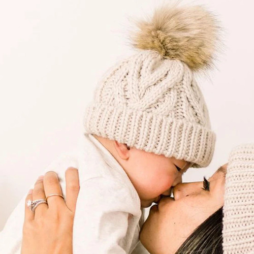 Cable Knit Pom Hat, Oatmeal