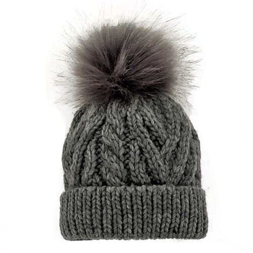 Cable Knit Pom Pom Hat, Grey