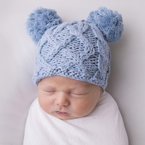 Cable Knit Newborn Pom Hat, Chambray