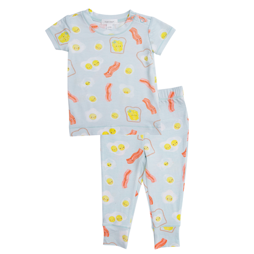 2-Piece Set Lounge Wear Set, Bacon & Eggs Blue