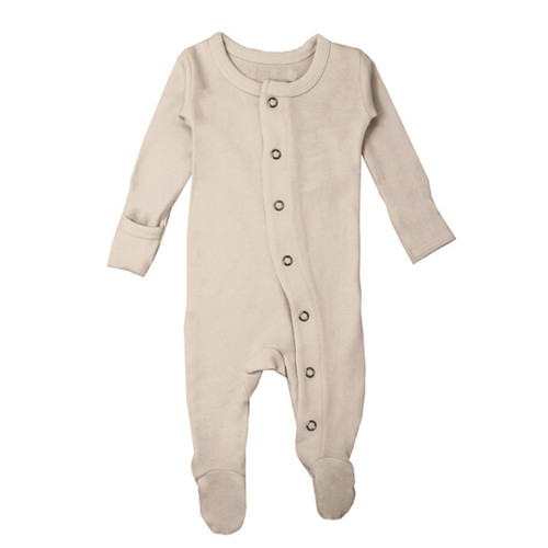 Organic Snap Footed Romper, Oatmeal