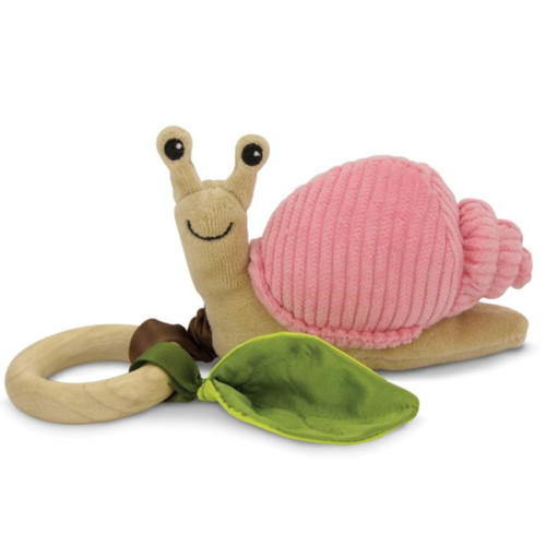 Snail Teething Toy, Pink Corduroy