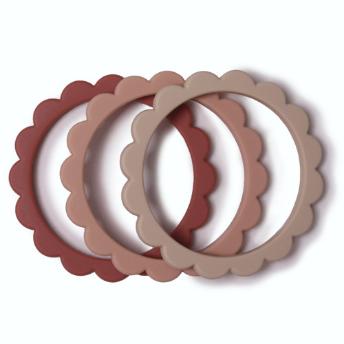 Flower Teething Bracelet 3-Pack, Rose/Blush/Shifting Sand