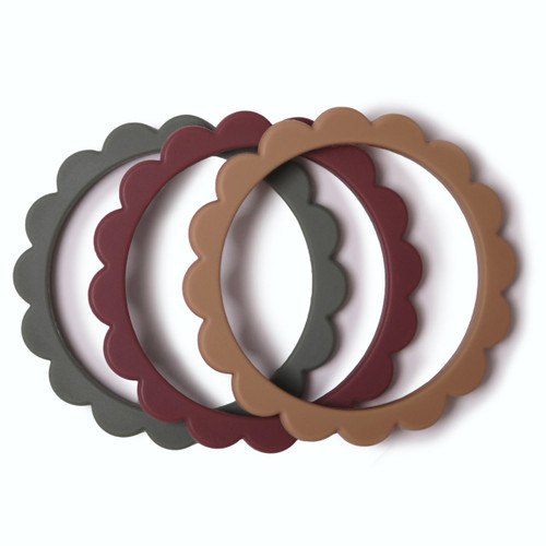 Flower Teething Bracelet 3-Pack, Dried Thyme/Berry/Natural